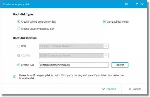 Create Emergency DIsk Choices