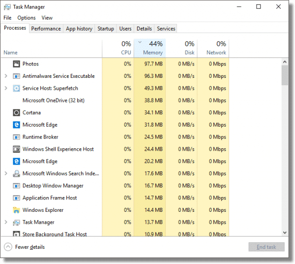 Task Manager sorted by Memory