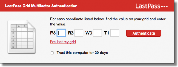 Lastpass Grid Authentication