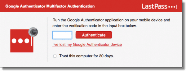 LastPass two-factor autheitcation using Google