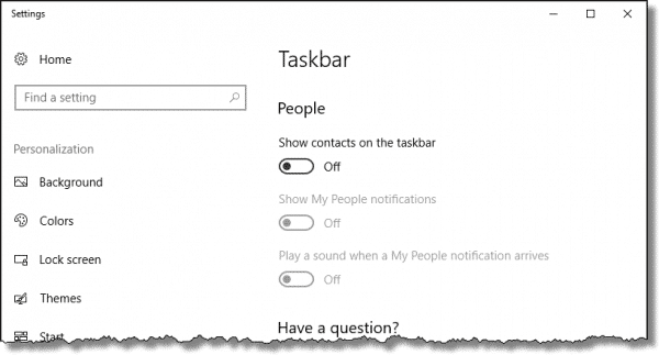 Taskbar Settings for People