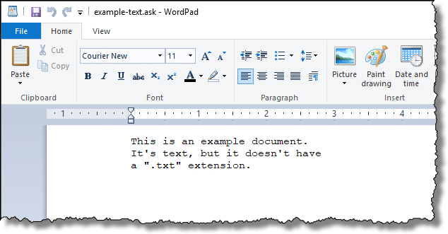 Wordpad on example file
