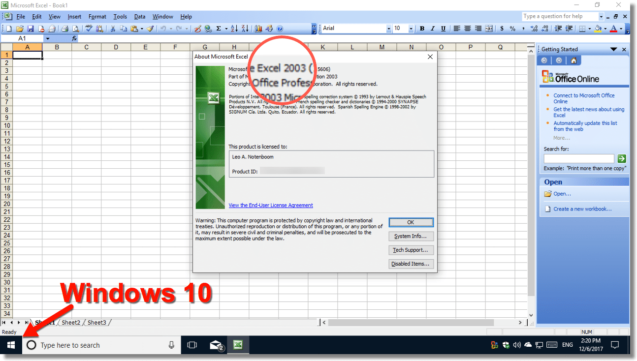 Office 2003 on Windows 10
