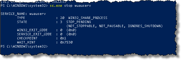 how to stop wuauserv permanently