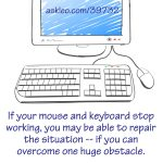 If your mouse and keyboard stop working, you may be able to repair the situation -- if you can overcome one huge obstacle.