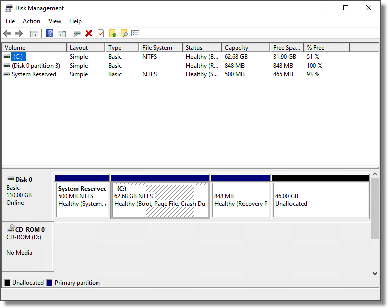 Disk Management interface