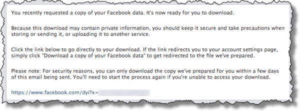 Facebook download ready