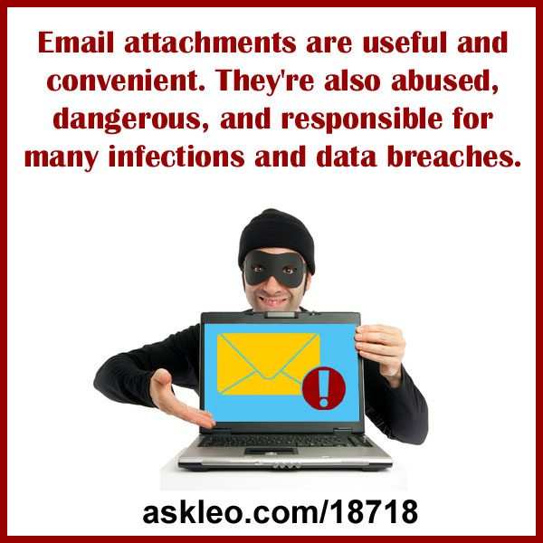 Email attachments are useful and convenient. They're also abused, dangerous, and responsible for many infections and data breaches.