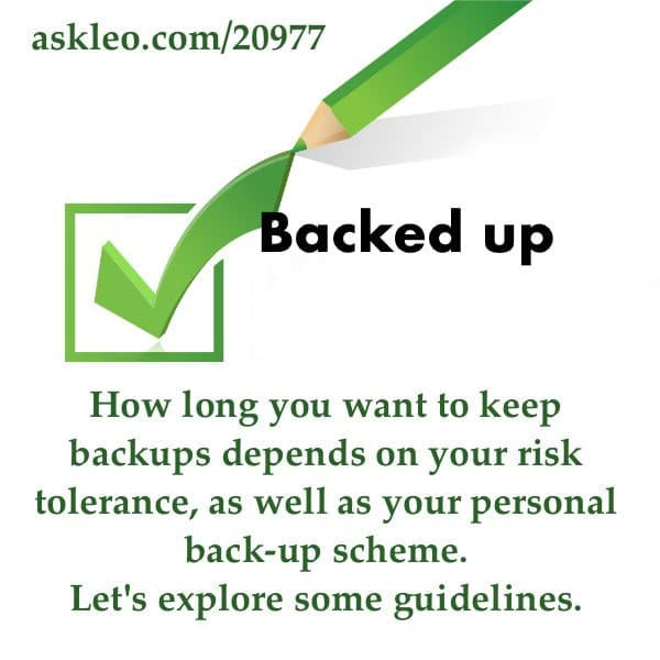 How long you keep backups depends on your risk tolerance, as well as your personal back-up scheme. Let's explore some guidelines.