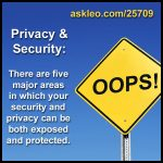Privacy and Security: There are five major areas in which your security and privacy can be both exposed and protected.