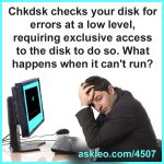 Chkdsk checks your disk for errors at a low level, requiring exclusive access to the disk to do so. What happens when it can't run?