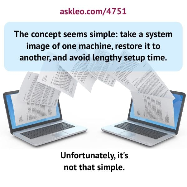 The concept seems simple: take a system image of one machine, restore it to another, and avoid lengthy setup time. Unfortunately, it's not that simple.