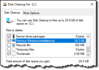 Disk Cleanup - Old Windows Version
