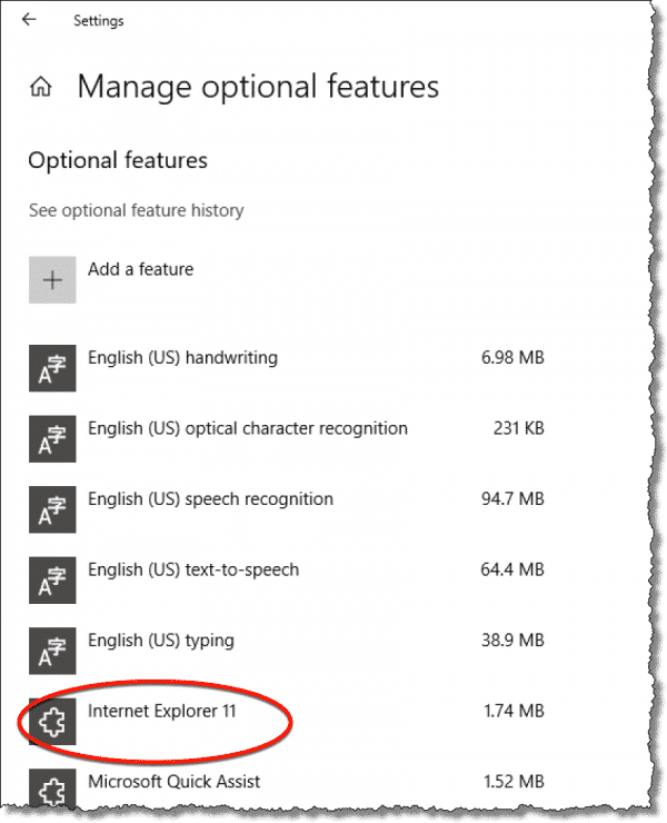 Optional features list