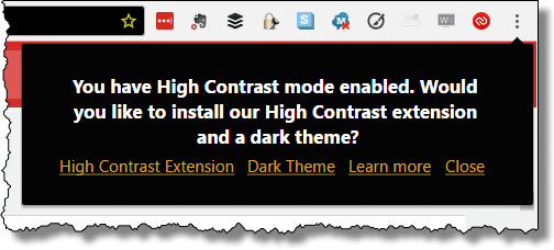 High Contrast Options in Chrome