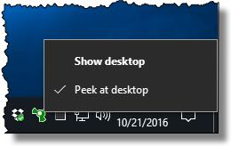 Desktop Show/Peek Options