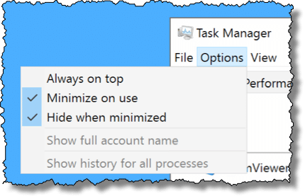 Task Manager Options