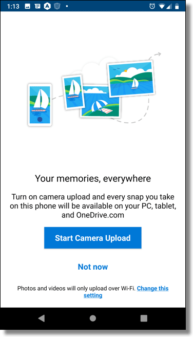 OneDrive Camera Upload