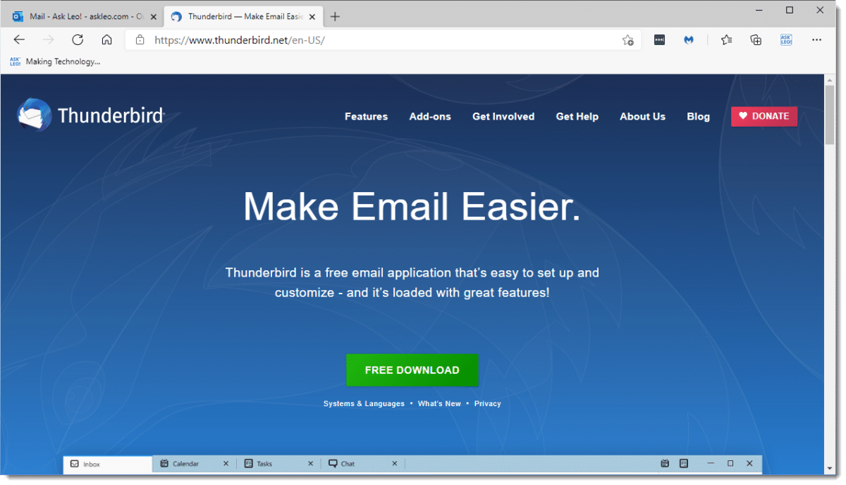 Thunderbird download page.