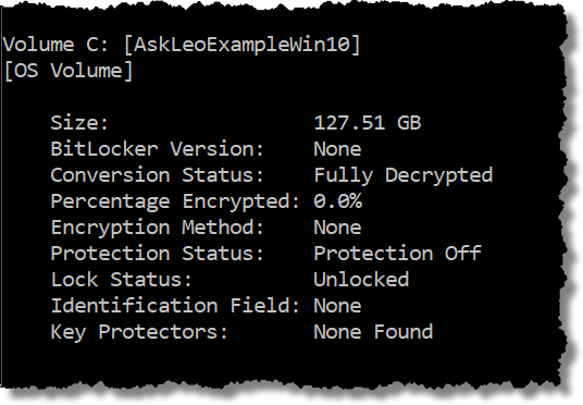 Unencrypted Hard Drive example