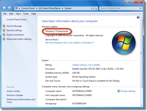 Windows 7 Edition in the System Properties dialog