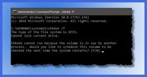 """""""Chkdsk Cannot Run Because the Volume Is in Use by Another Process"""""""