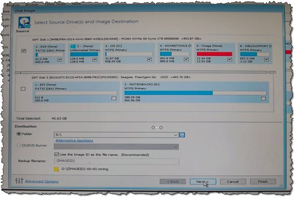 Backup Image settings in Macrium Reflect Free
