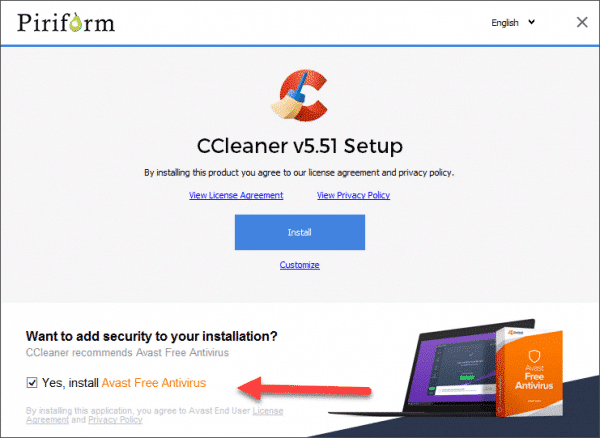CCleaner Install with Avast as a PUP
