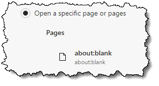 about:blank set as the opening page