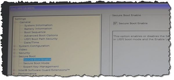 Dell UEFI/BIOS secure boot enable.