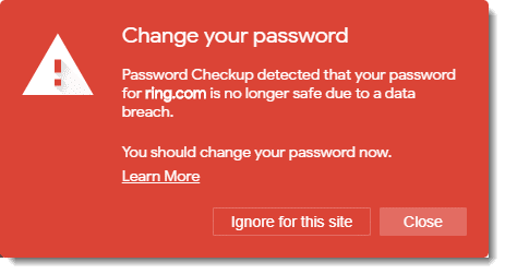 Your password appeared in a breach.