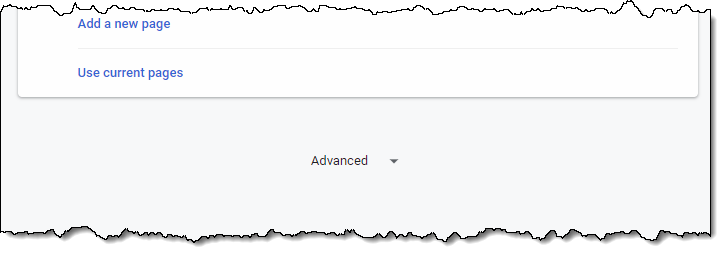 Advanced link at the bottom of Chrome's options page