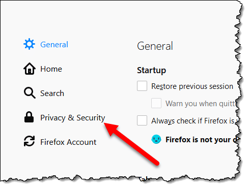 Privacy & Security link in Firefox Options