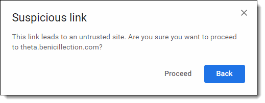 Gmail warning of a suspicious link