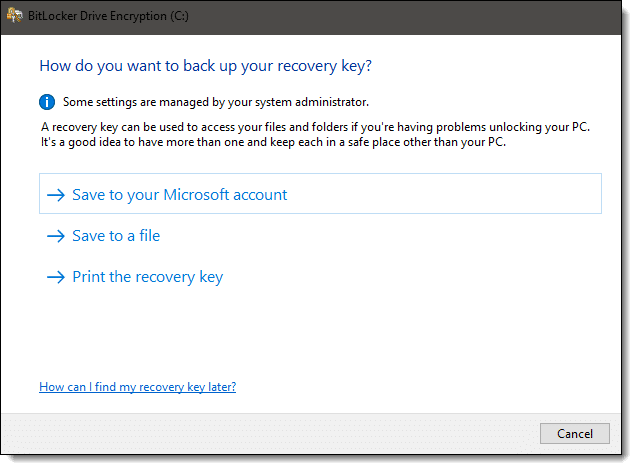 Back up your recovery key!