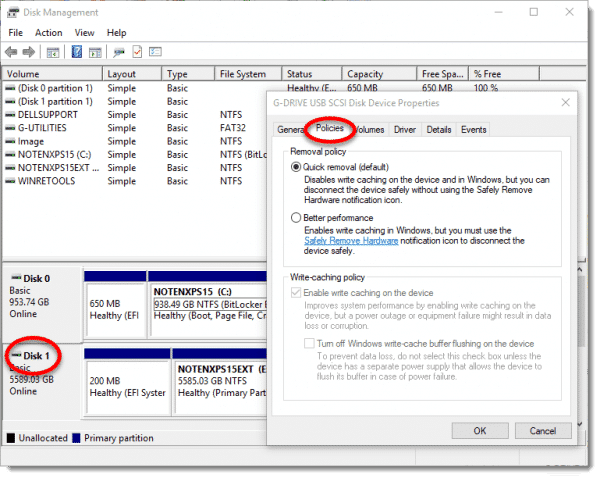 Disk management dialog highlighting the Removal policy