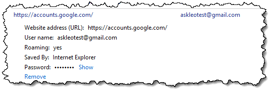 An entry in Manage Web Credentials