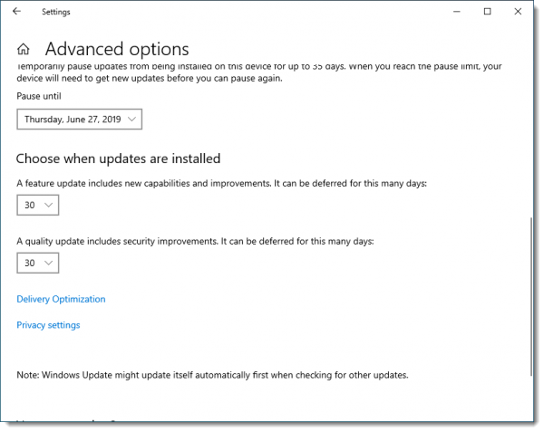 Pausing or Delaying Windows Updates