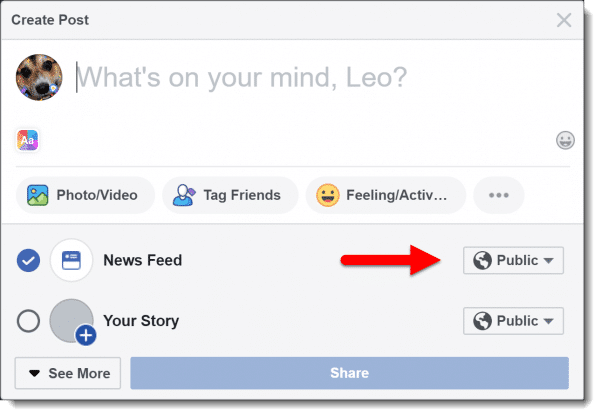 Visibility options when making a Facebook post