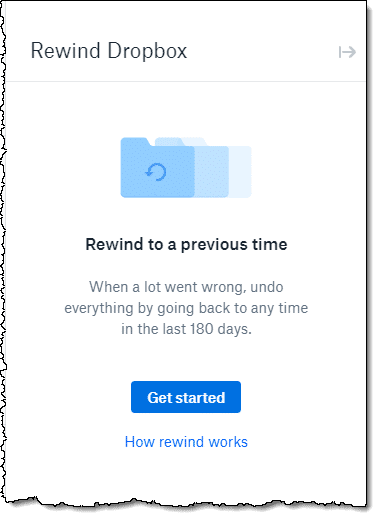 Dropbox Rewind Feature