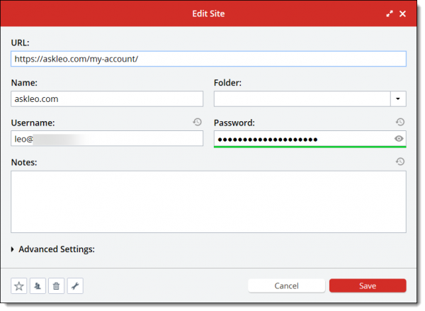 Lastpass displaying an entry