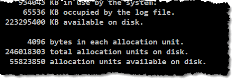 CHKDSK report showing cluster size