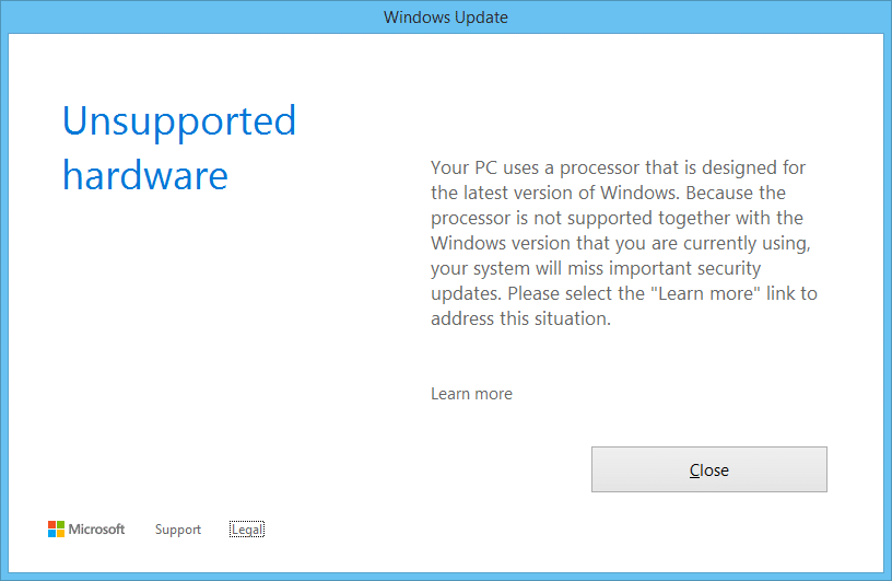 Unsupported hardware notification