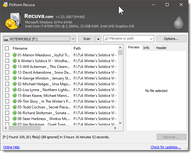 "Recuva listing ""found"" files"