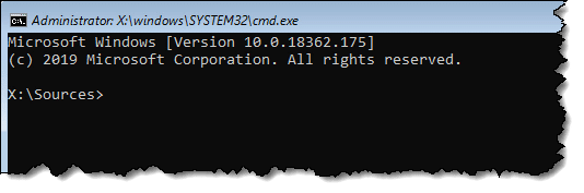 Command Prompt run from the Setup disk's Repair option