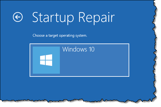Startup repair -- operating system selection