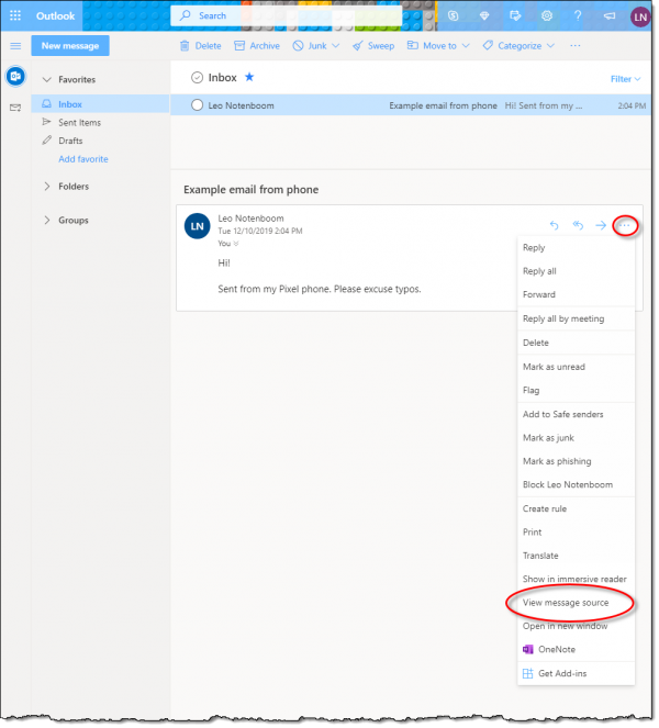 An example email in Outlook.com