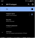 Android Hotspot Configuration