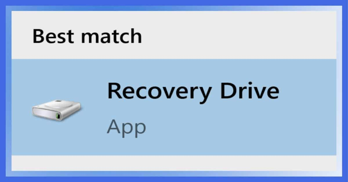 Recovery Drive in Search Results