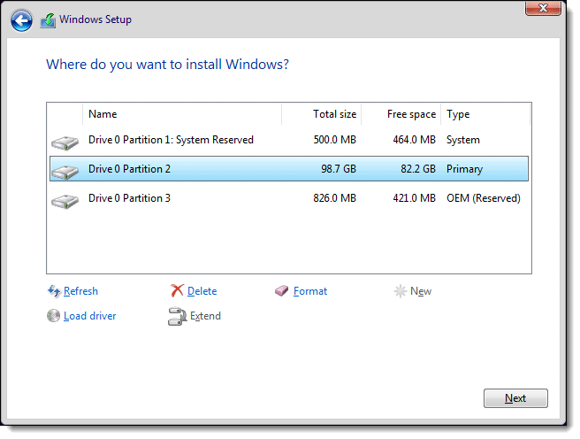 Windows Setup - Partition Management
